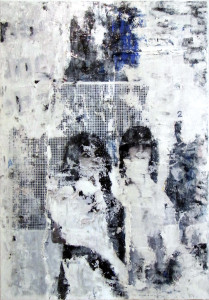 blue delay © 2012, 70x100 cm, canvas, affichepaper, acryllic, clear laquer by courtesy of Foundation Sparda-Bank West collection, Duesseldorf/Germany
