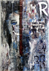 blue smile © 2012, 70x100 cm, canvas, affichepaper, acryllic, clear laquer by courtesy of private collection, Lippstadt/Germany