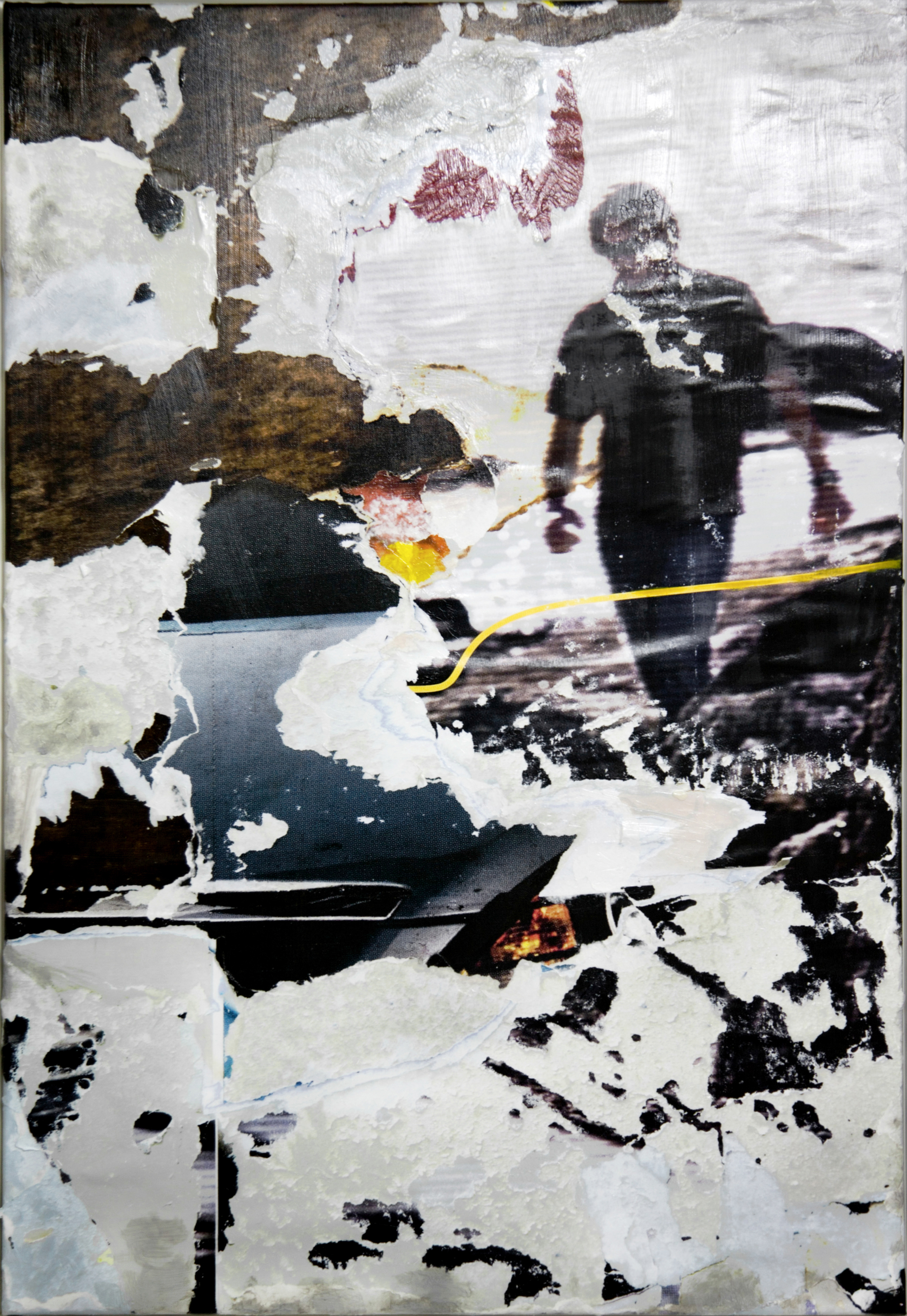 decollage_0432 © 2011, 70x100 cm, canvas, affichepaper, acryllic, clear laquer Copyright by the artist. Courtesy of private collection, Berlin/Germany