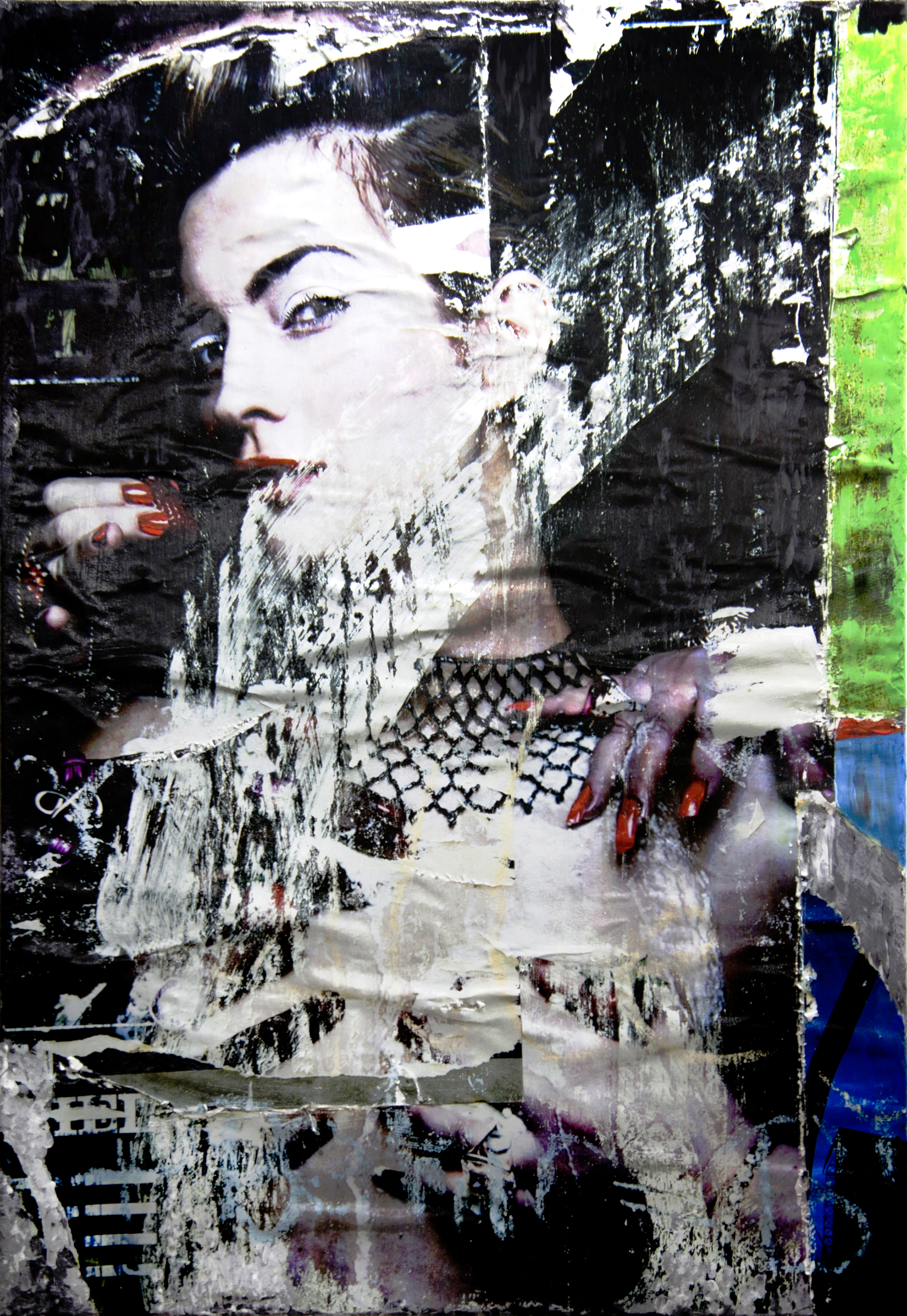 decollage_6609 © 2011, 70x100 cm, canvas, affichepaper, acryllic, clear laquer Copyright by the artist. Courtesy of private collection, Berlin/Germany